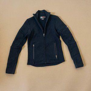 Vintage Ralph Lauren Sport Black Moto Wool Zip Up